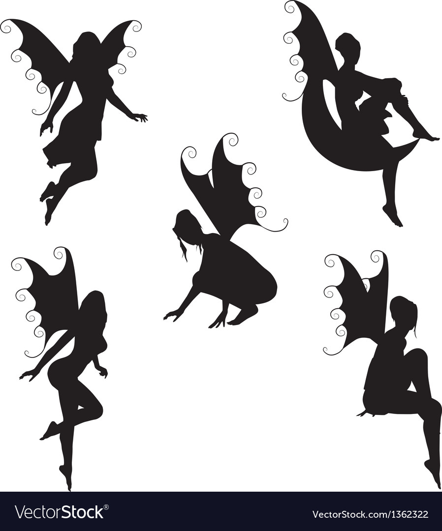 5 fairy silhouettes vector | Price: 1 Credit (USD $1)