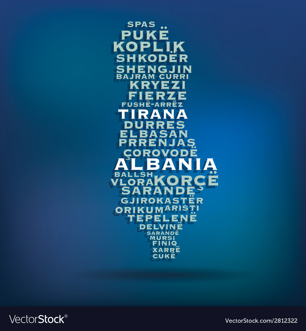 Albania map made with name of cities vector | Price: 1 Credit (USD $1)