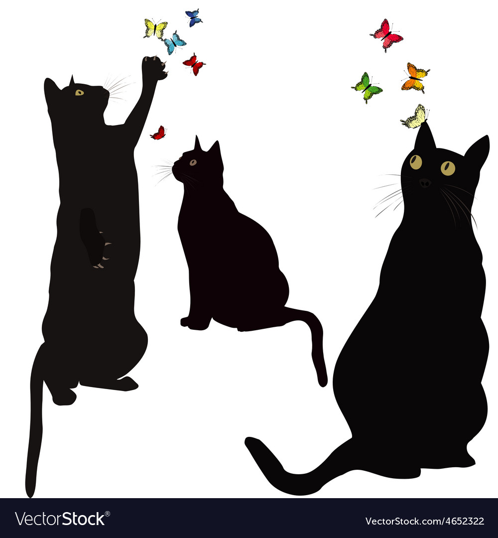 Black cats silhouettes and colorful butterlies vector | Price: 1 Credit (USD $1)