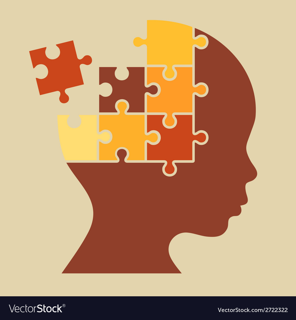 Color puzzle human head silhouette vector | Price: 1 Credit (USD $1)