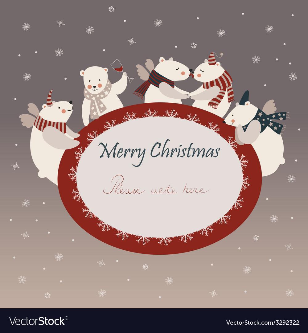 Cute polar bears celebrating christmas vector | Price: 1 Credit (USD $1)