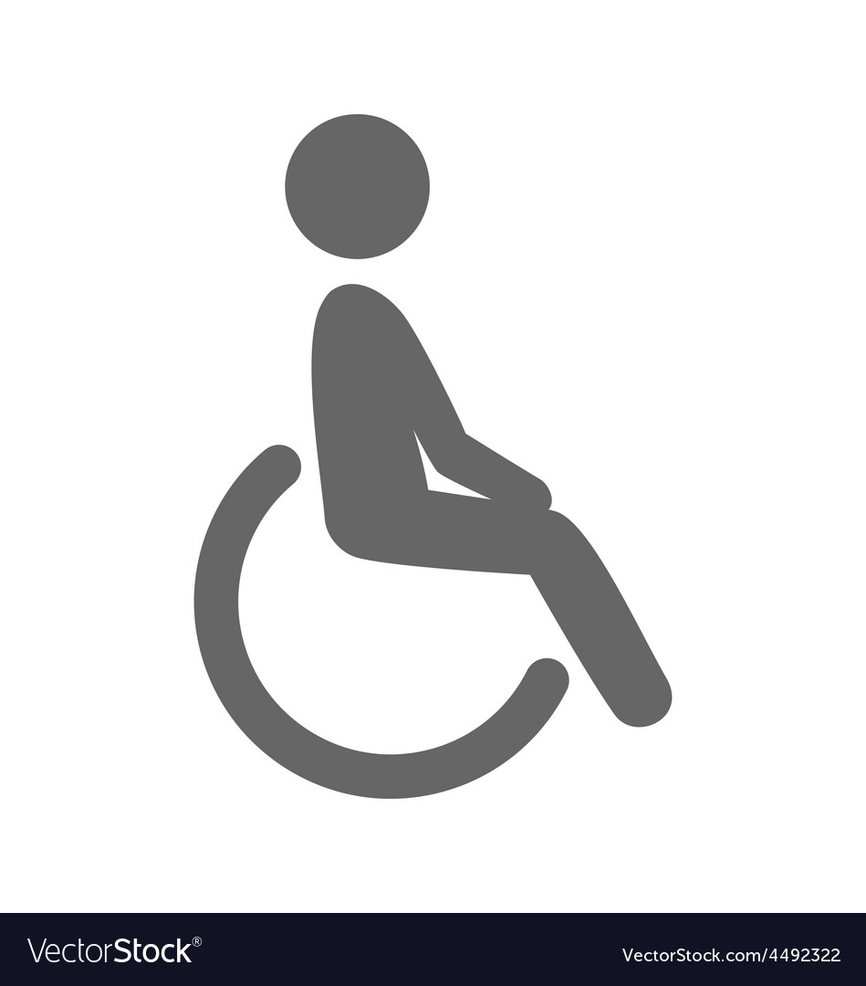 Disability man pictogram flat icon isolated on vector | Price: 1 Credit (USD $1)