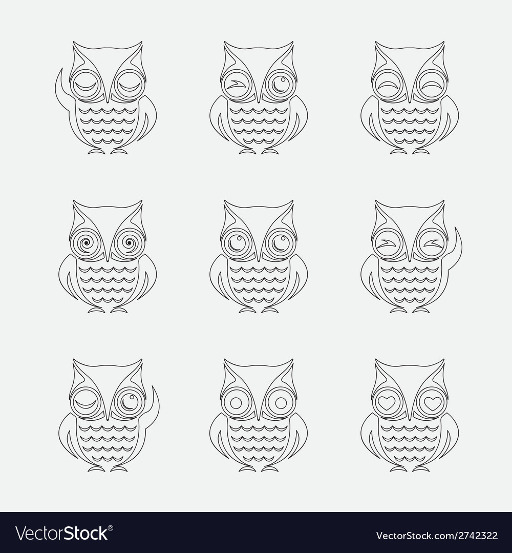 Group of owls vector | Price: 1 Credit (USD $1)