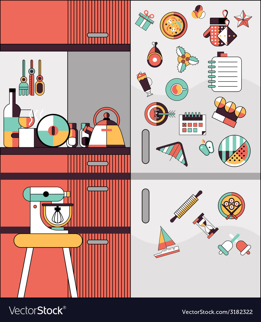 Kitchen interior flat line vector | Price: 1 Credit (USD $1)