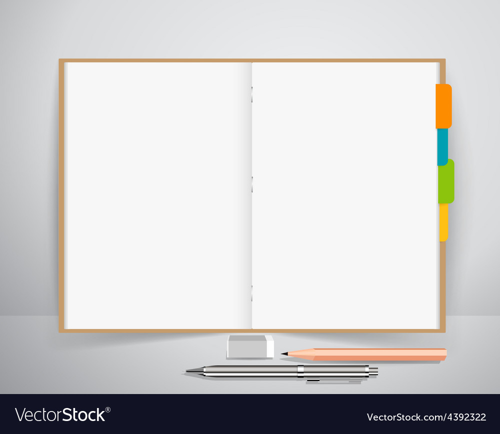 Note book with pen and pencil business working vector | Price: 1 Credit (USD $1)