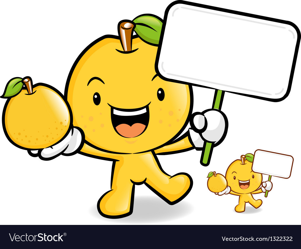 Pear mascot the hand is holding a picket and fruit vector | Price: 1 Credit (USD $1)
