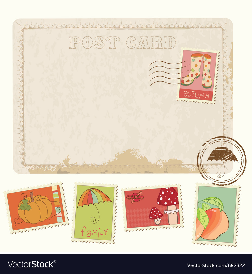 Retro postcard set vector | Price: 1 Credit (USD $1)