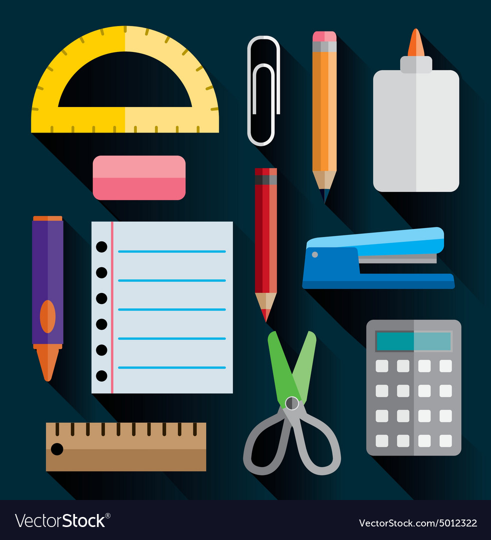 School and office suppliesflat design vector