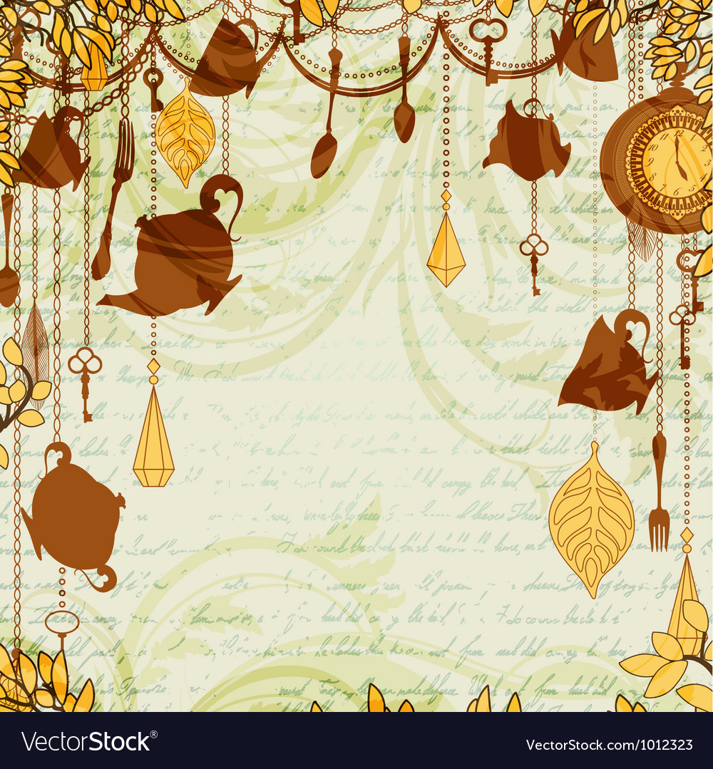 Antique background with tea party theme vector | Price: 1 Credit (USD $1)