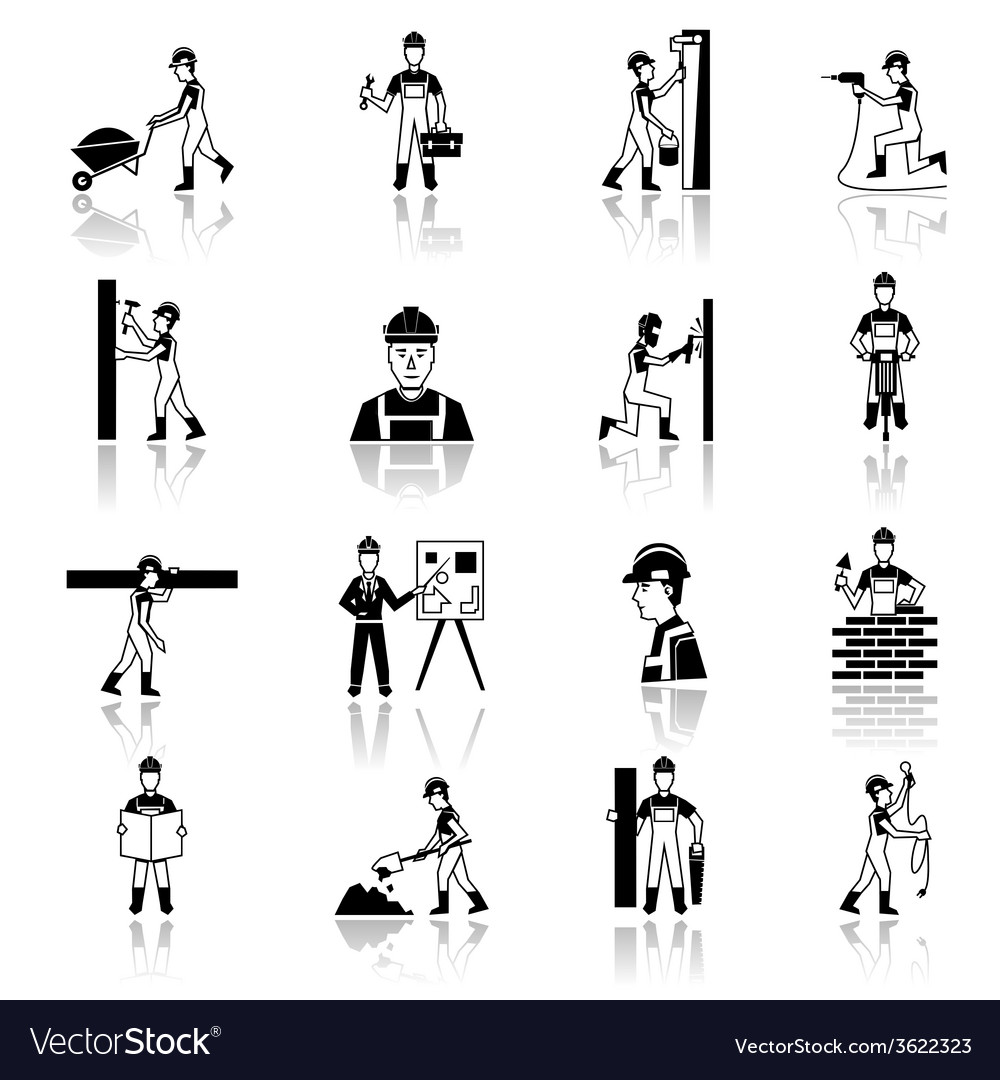 Construction worker icons black vector | Price: 1 Credit (USD $1)
