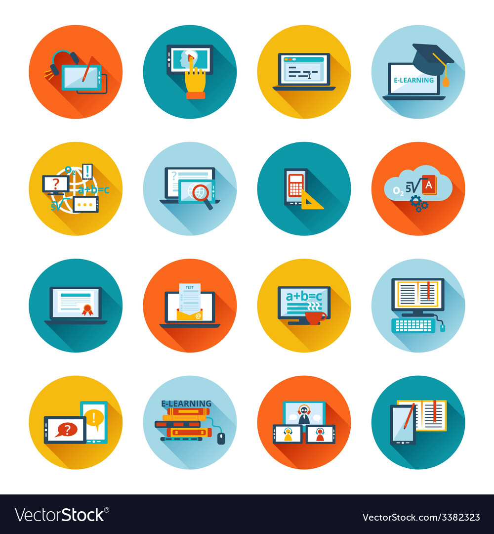 E-learning icon flat vector | Price: 1 Credit (USD $1)