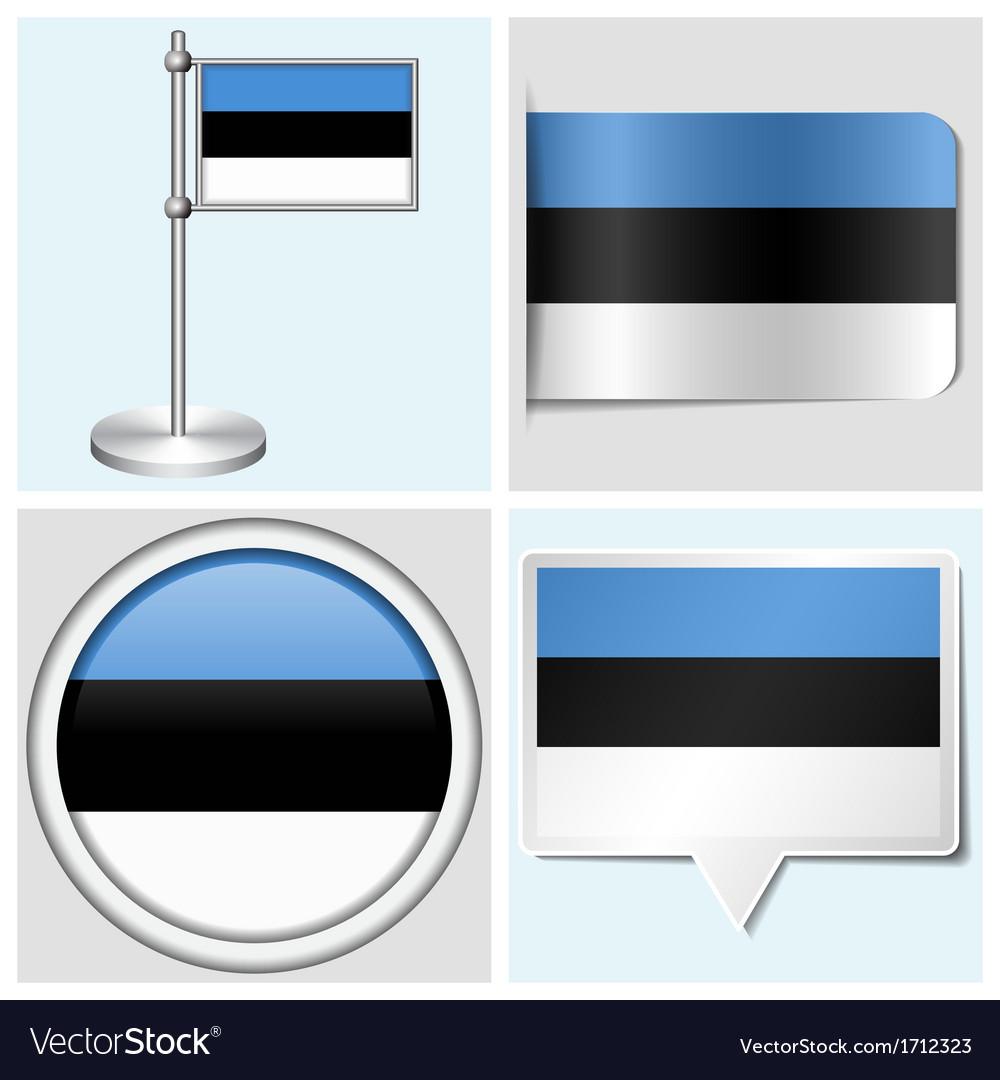 Estonia flag - sticker button label flagstaff vector | Price: 1 Credit (USD $1)
