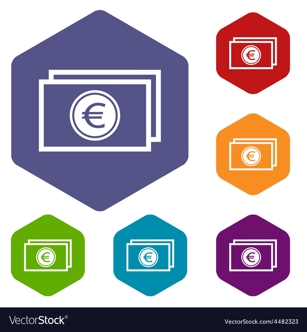 Euro buck rhombus icons vector | Price: 1 Credit (USD $1)