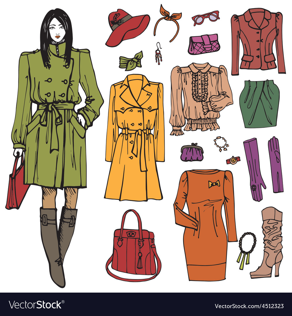 Fashion girl and street clothing setcolored vector | Price: 1 Credit (USD $1)