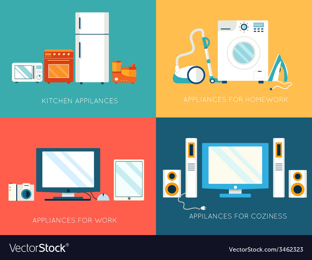 Flat modern kitchen appliances set icons concept vector | Price: 1 Credit (USD $1)