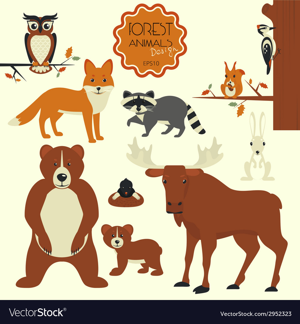 Forest animals vector | Price: 1 Credit (USD $1)