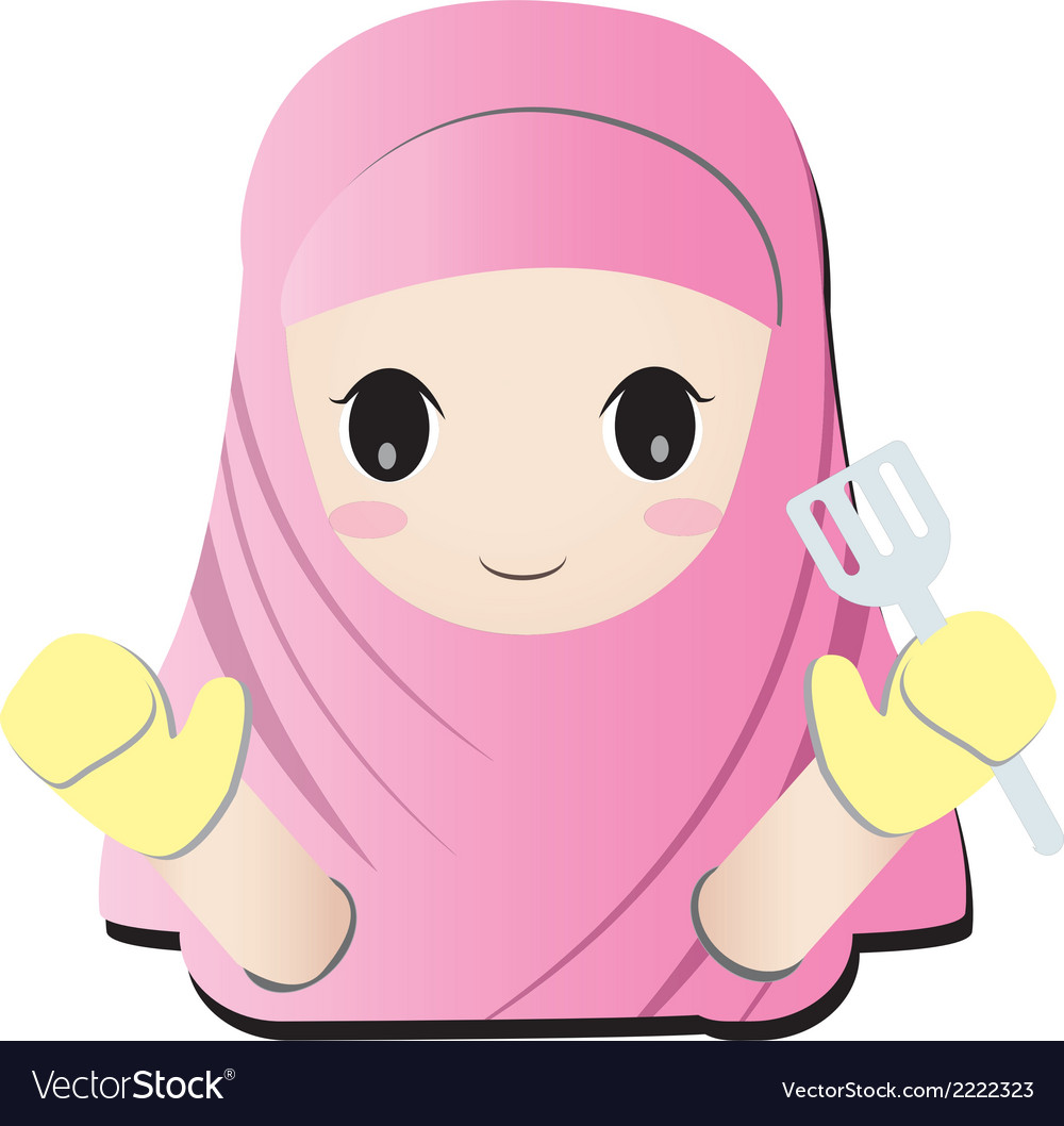 Islamic cooking girl vector | Price: 1 Credit (USD $1)
