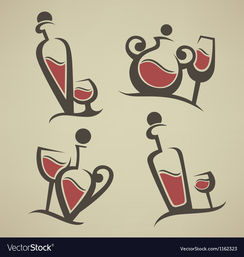 Red wine bottle and glasses vector | Price: 1 Credit (USD $1)