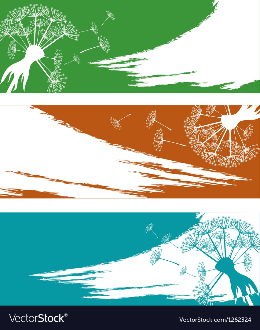 Banner set with dandelion vector | Price: 1 Credit (USD $1)