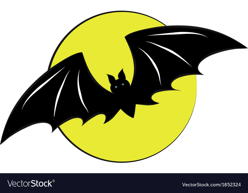 Bat flying with a full moon vector | Price: 1 Credit (USD $1)