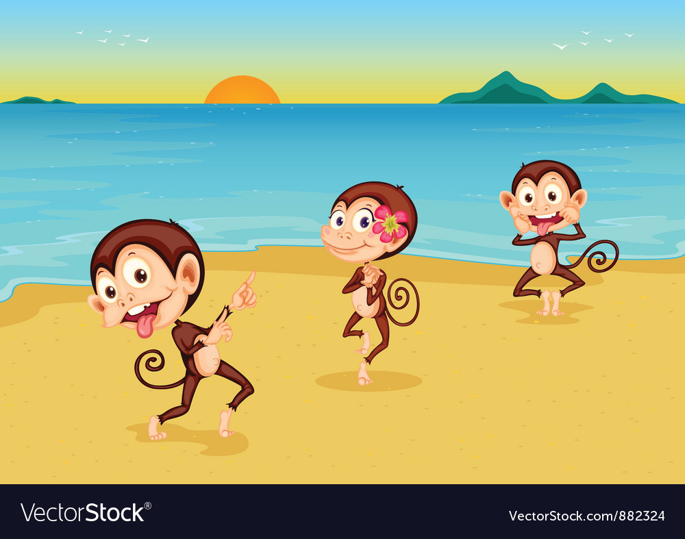 Cheeky monkeys vector | Price: 5 Credit (USD $5)