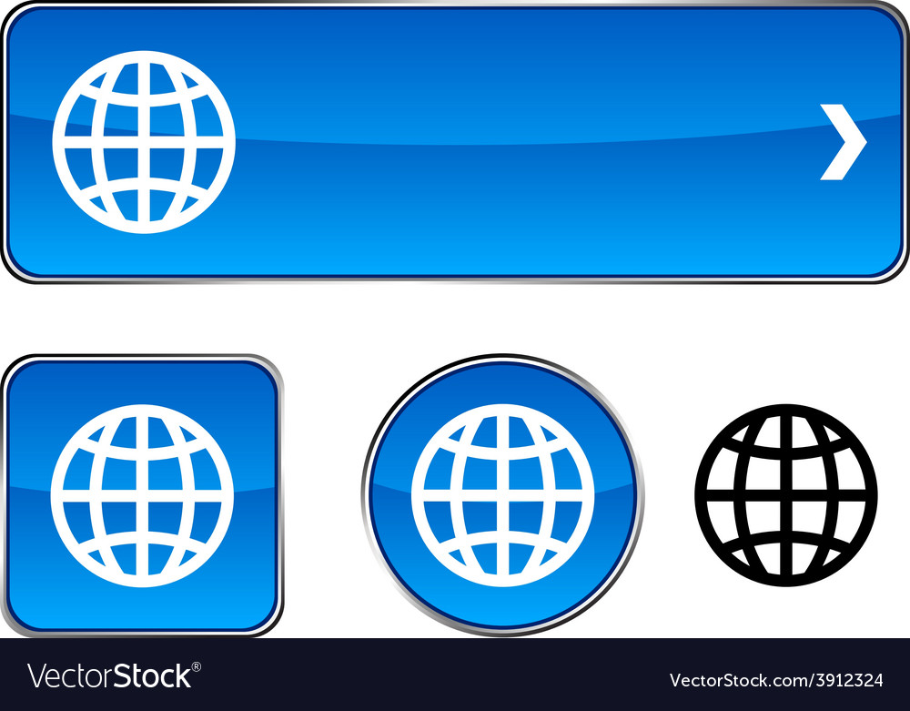 Earth button set vector | Price: 1 Credit (USD $1)