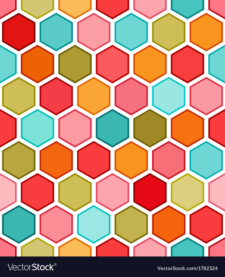 Hexagon multicolored seamless pattern vector | Price: 1 Credit (USD $1)