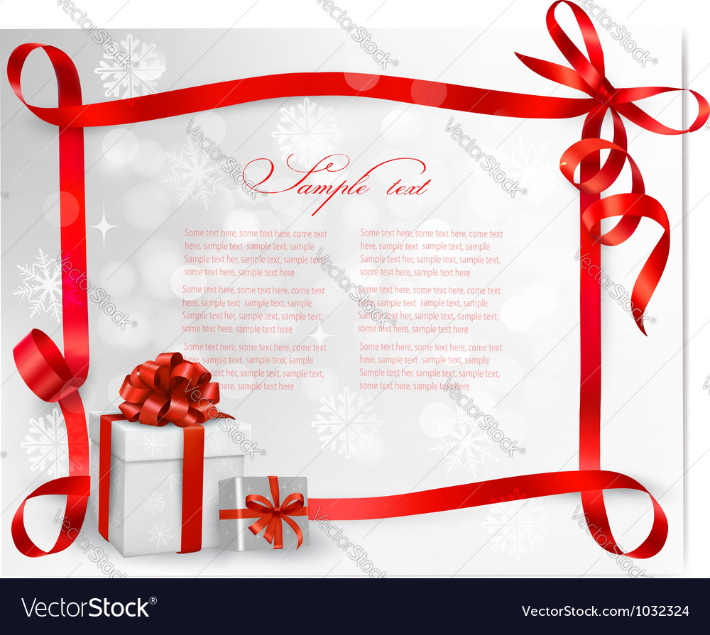 Holiday background with red gift bow with gift vector | Price: 1 Credit (USD $1)