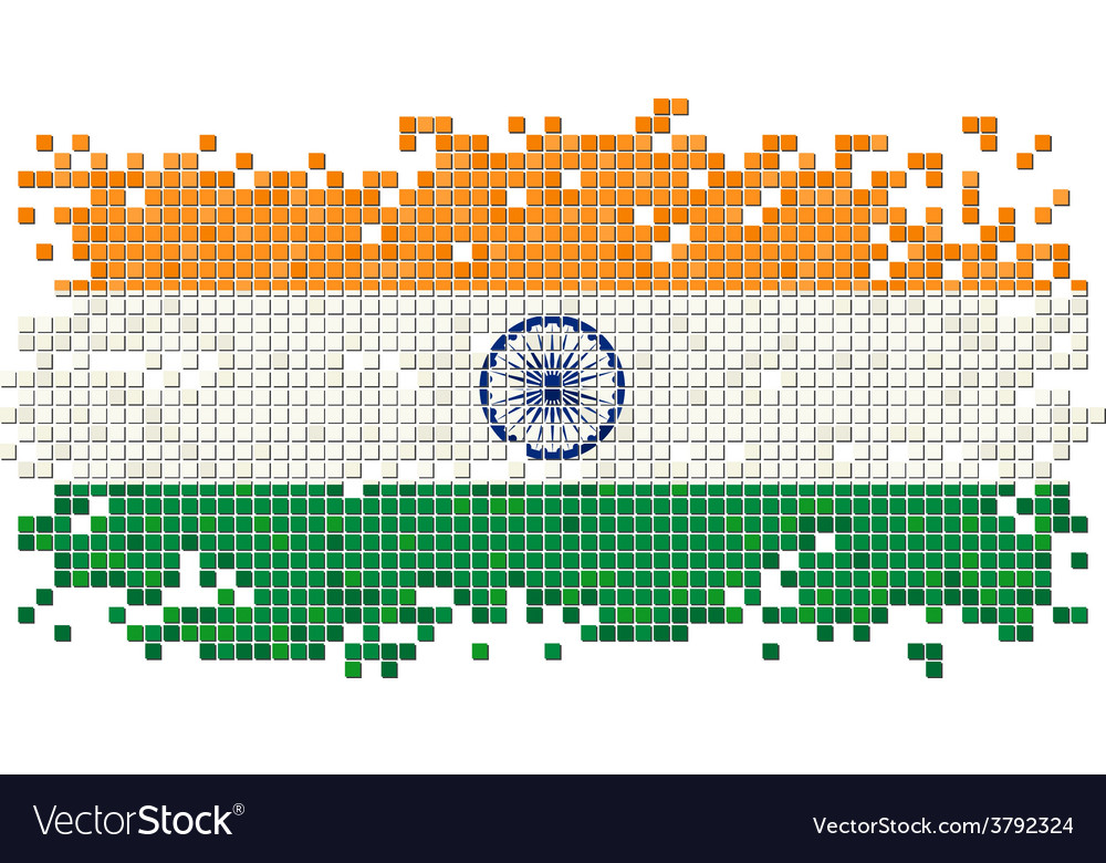 Indian grunge tile flag vector | Price: 1 Credit (USD $1)