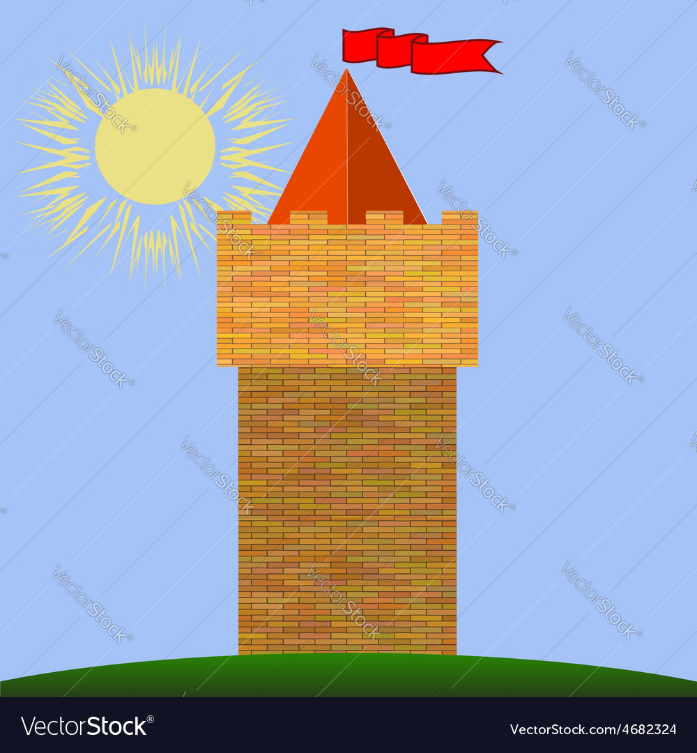 Old red brick castle vector | Price: 1 Credit (USD $1)