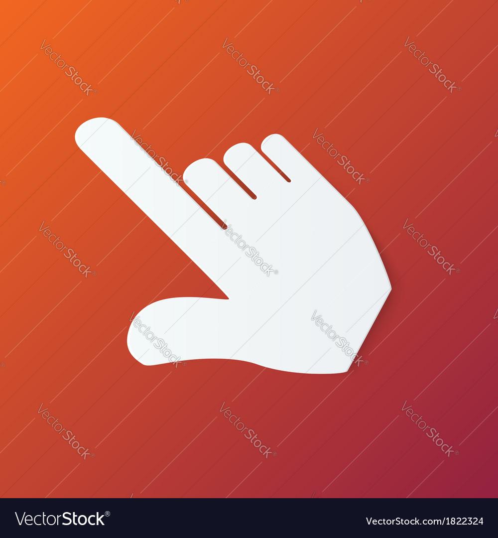 Paper hand cursor in perspective on orange vector | Price: 1 Credit (USD $1)