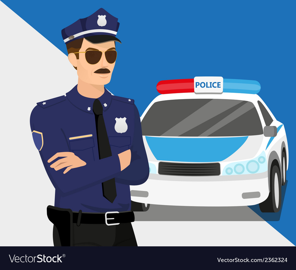 Policeman and police car vector | Price: 1 Credit (USD $1)