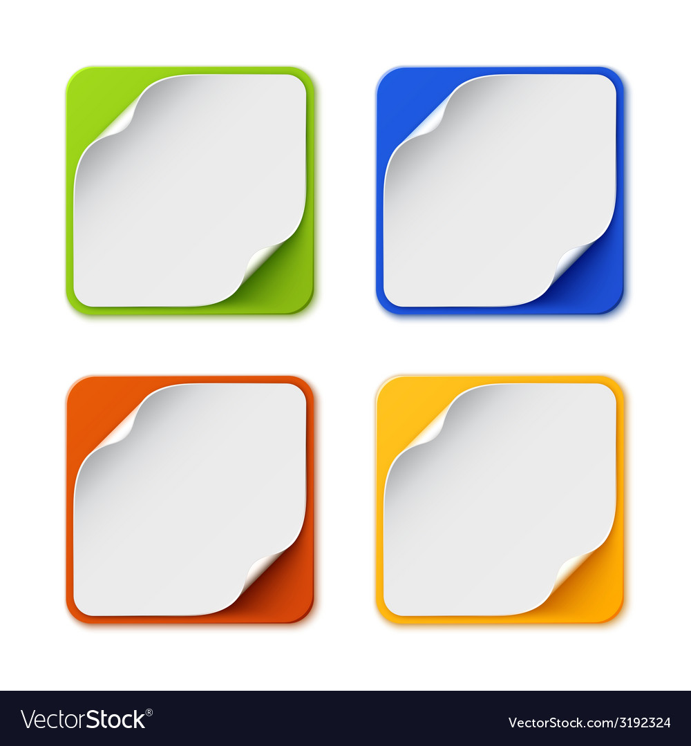 Set of four colorful square banners vector | Price: 1 Credit (USD $1)