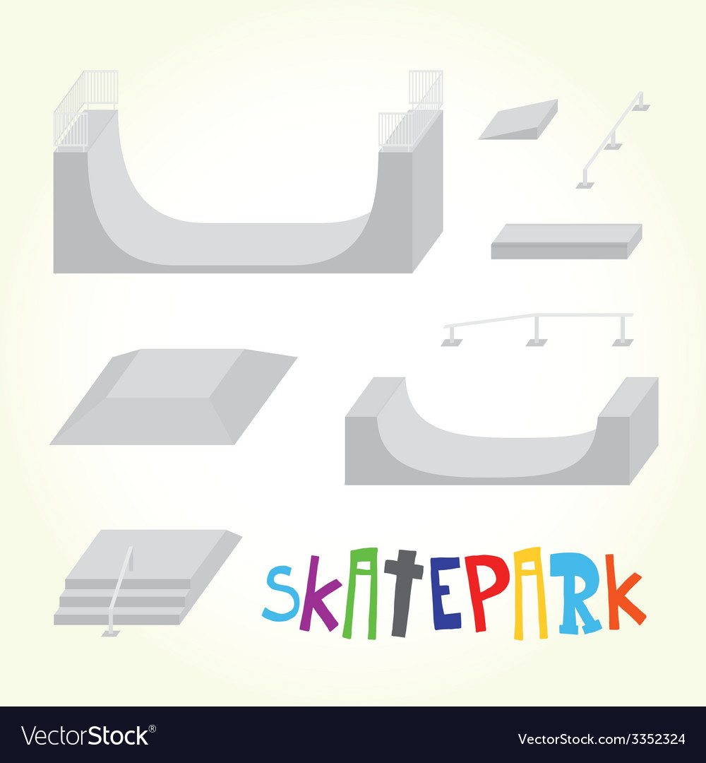 Skatepark isolated parts vector | Price: 1 Credit (USD $1)