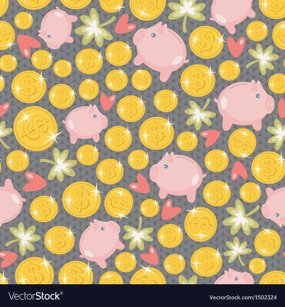 St patricks day seamless pattern with piggy vector | Price: 1 Credit (USD $1)