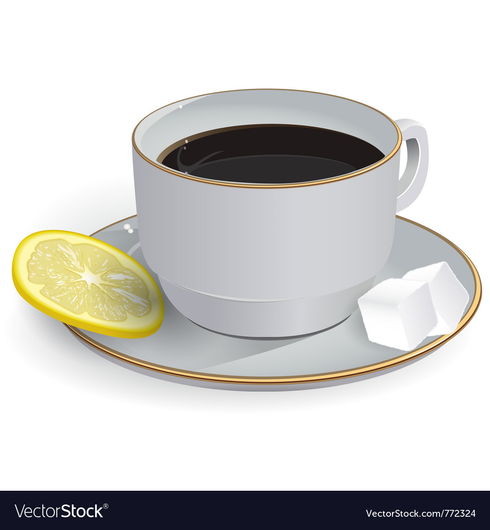 Tea with lemon saucer vector | Price: 3 Credit (USD $3)