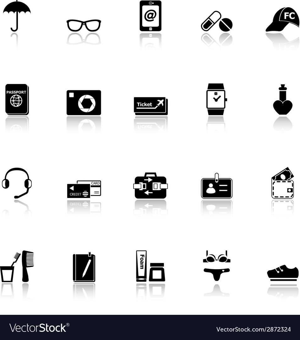 Travel luggage preparation icons with reflect on vector | Price: 1 Credit (USD $1)