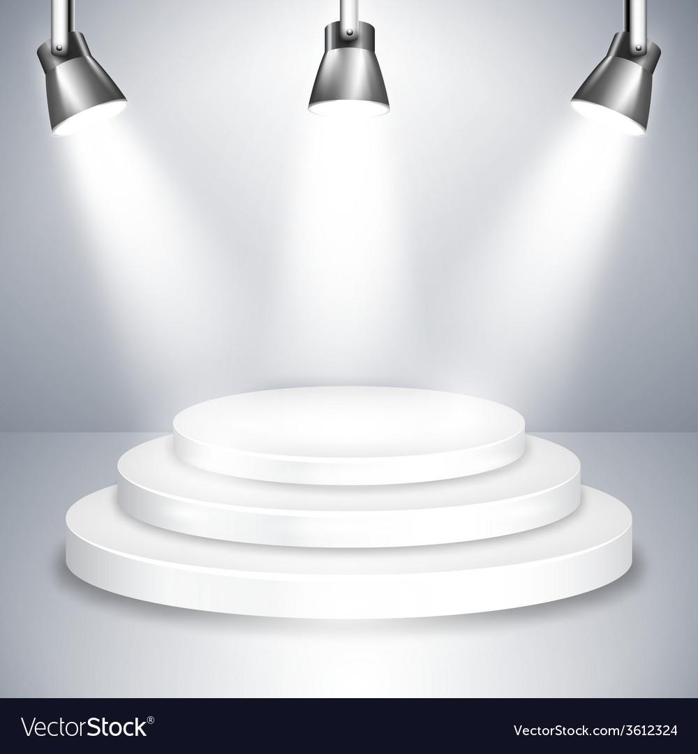 White stage platform illuminated by spotlights vector | Price: 1 Credit (USD $1)