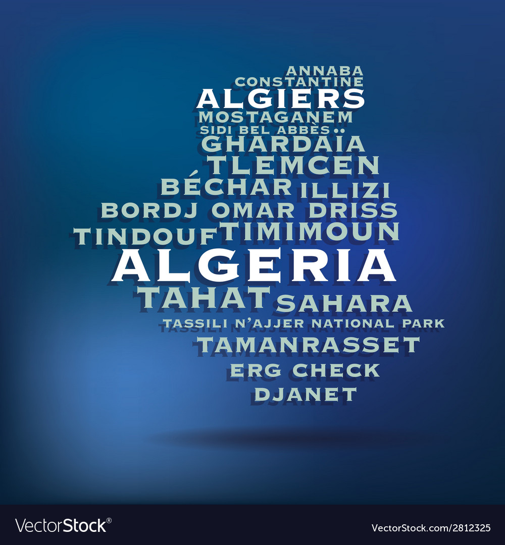 Algeria map made with name of cities vector | Price: 1 Credit (USD $1)