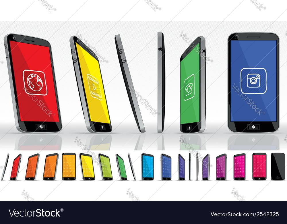 Black smart phone multiple views vector   Price: 1 Credit (USD $1)