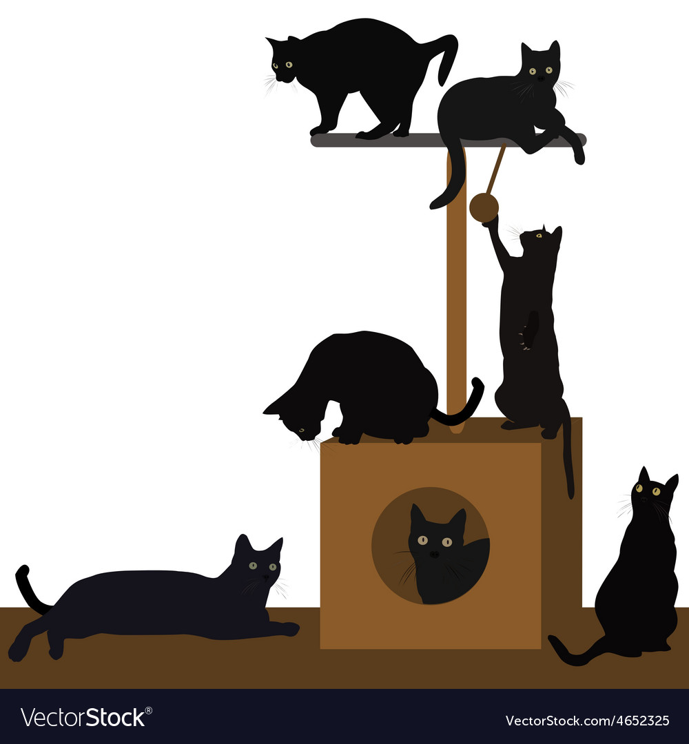 Cats playing or resting in a cat house vector | Price: 1 Credit (USD $1)