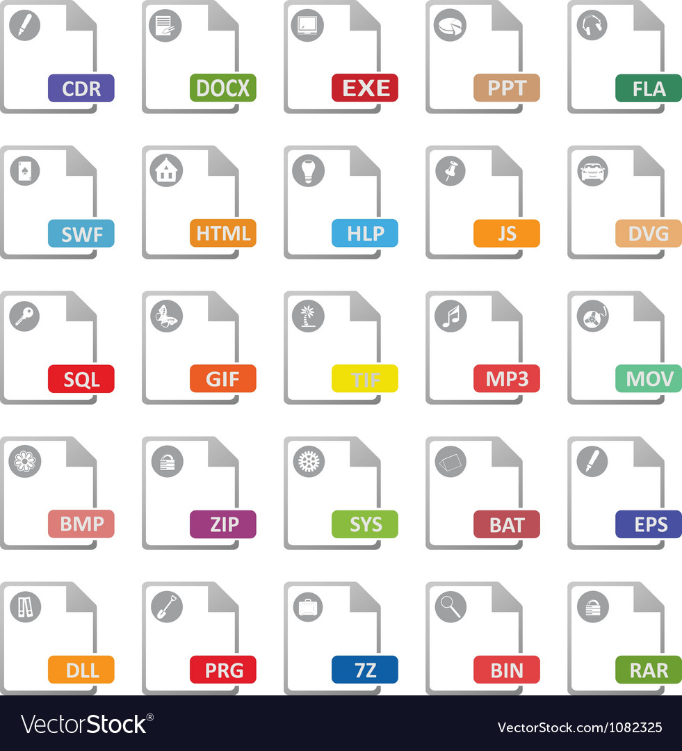 Computer files icons vector | Price: 1 Credit (USD $1)