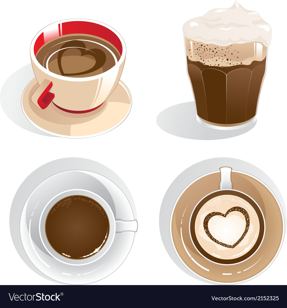 Four cups of coffee vector | Price: 1 Credit (USD $1)
