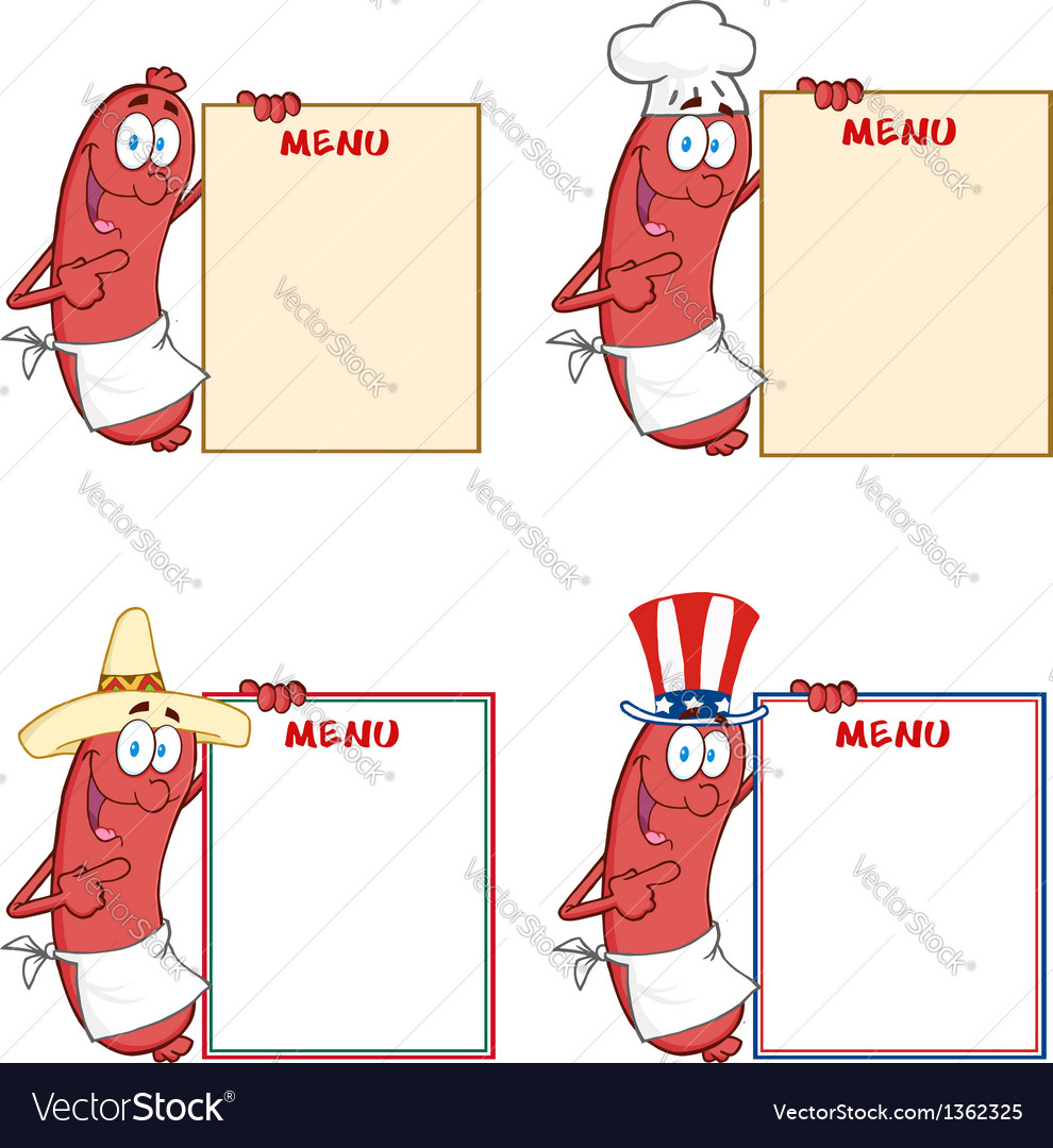 Sausages showing menu collection vector | Price: 1 Credit (USD $1)