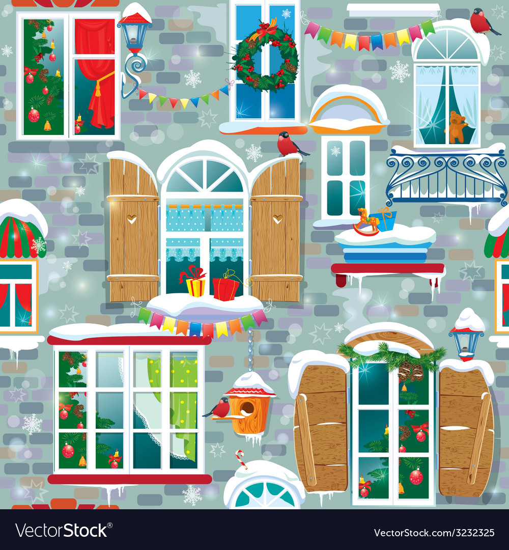 Seamless pattern with decorative windows in winter vector | Price: 3 Credit (USD $3)