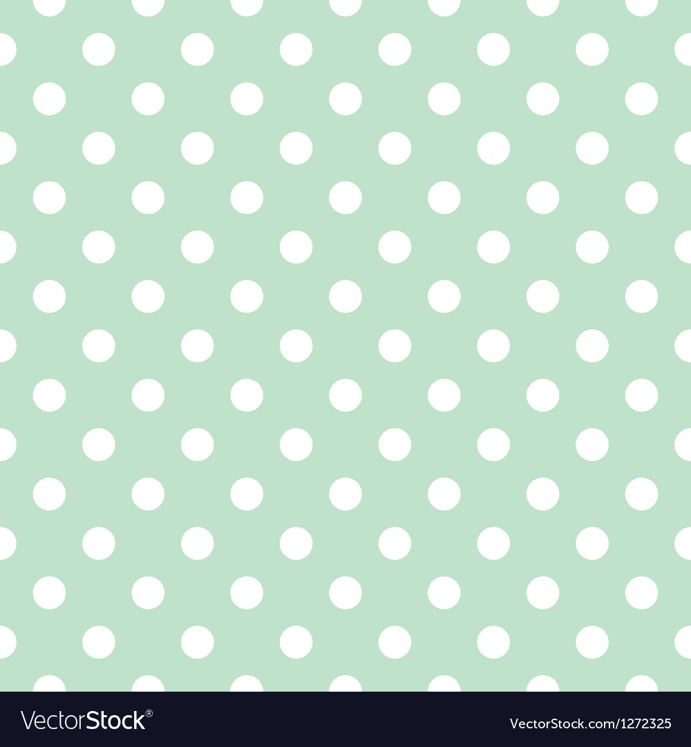 Seamless white polka dots pattern mint background vector | Price: 1 Credit (USD $1)