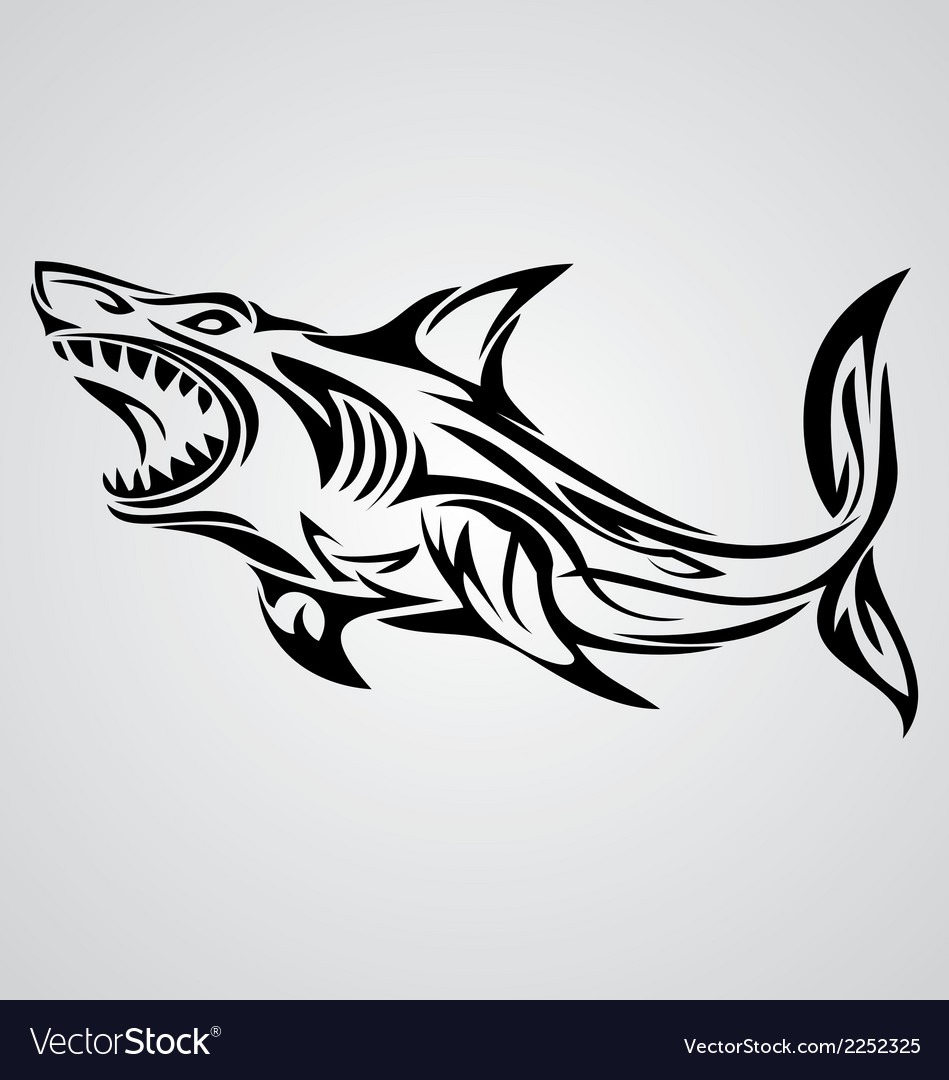 Shark tribal vector | Price: 1 Credit (USD $1)