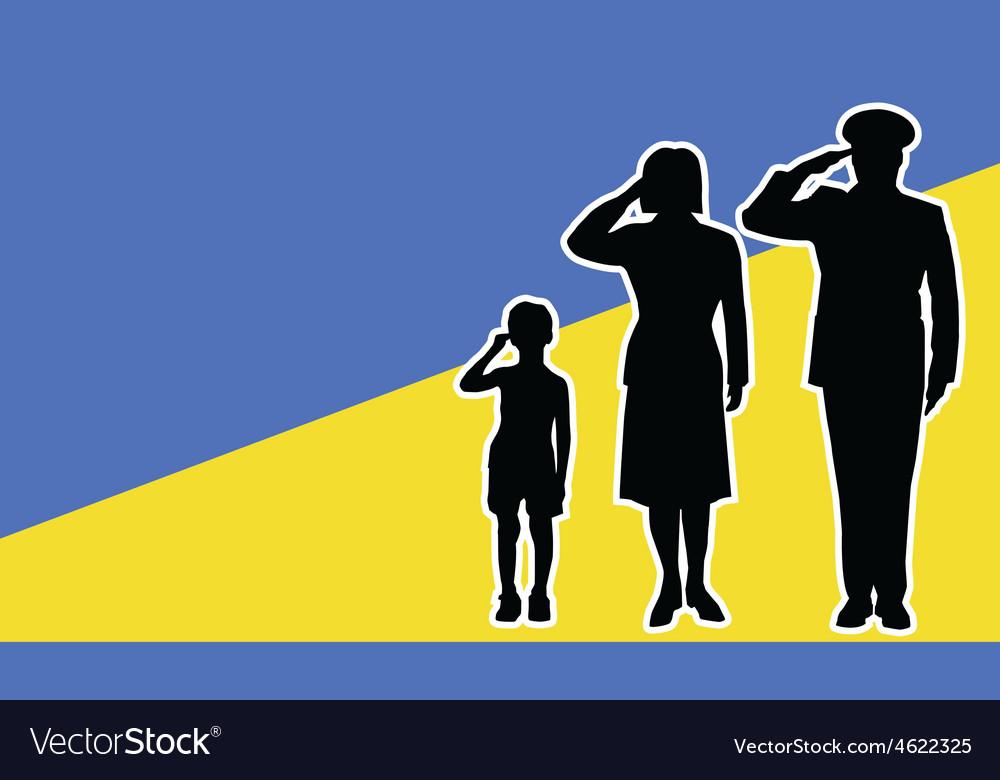 Ukraine soldier family salute vector | Price: 1 Credit (USD $1)