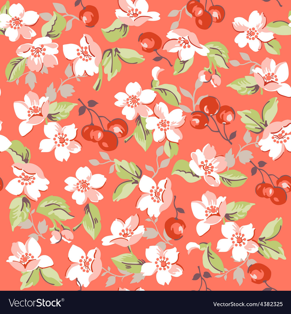 Vintage floral and cherry background vector | Price: 1 Credit (USD $1)