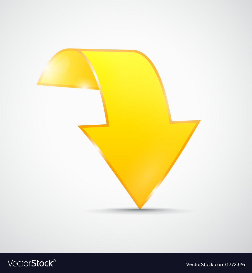 Abstract 3d yellow arrow icon vector | Price: 1 Credit (USD $1)